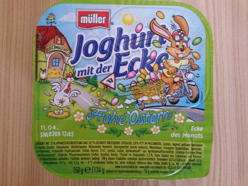 Müller Joghurt mit der Ecke Frohe Ostern